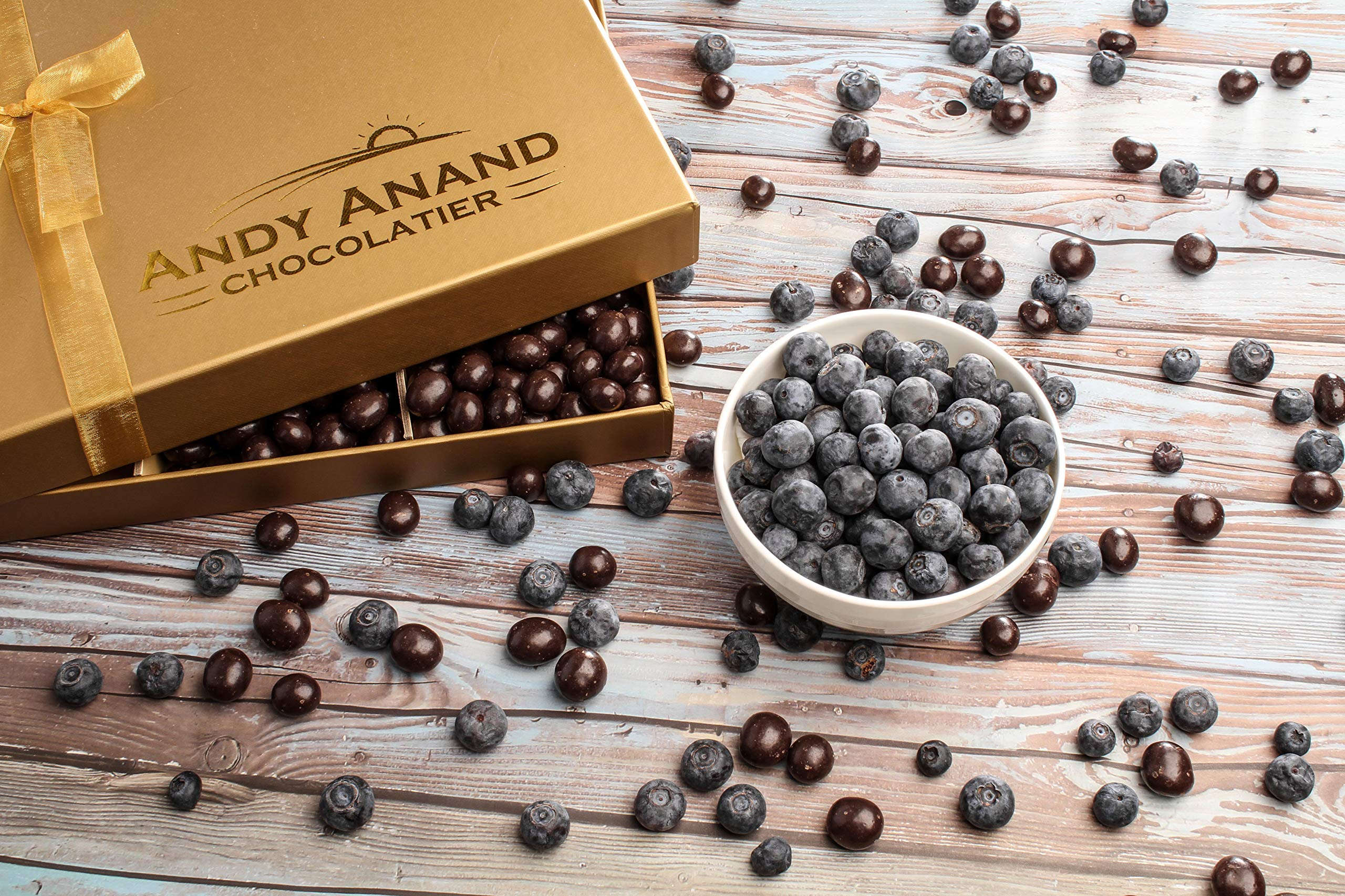 Andy Anand's Chocolates- Premium California Blueberries covered with Vegan Rich Dark Chocolate in Gift Basket, All-Natural and certified Made from Natural Ingredients (1 LBS)