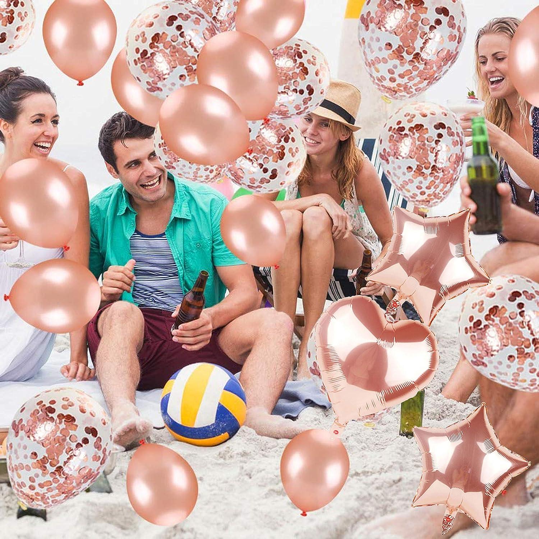 Happy Birthday Pennant Star Decorazione Palloncini coriandoli in Lattice Oro Rosa Palloncino Foil a Forma di Cuore con Nastro
