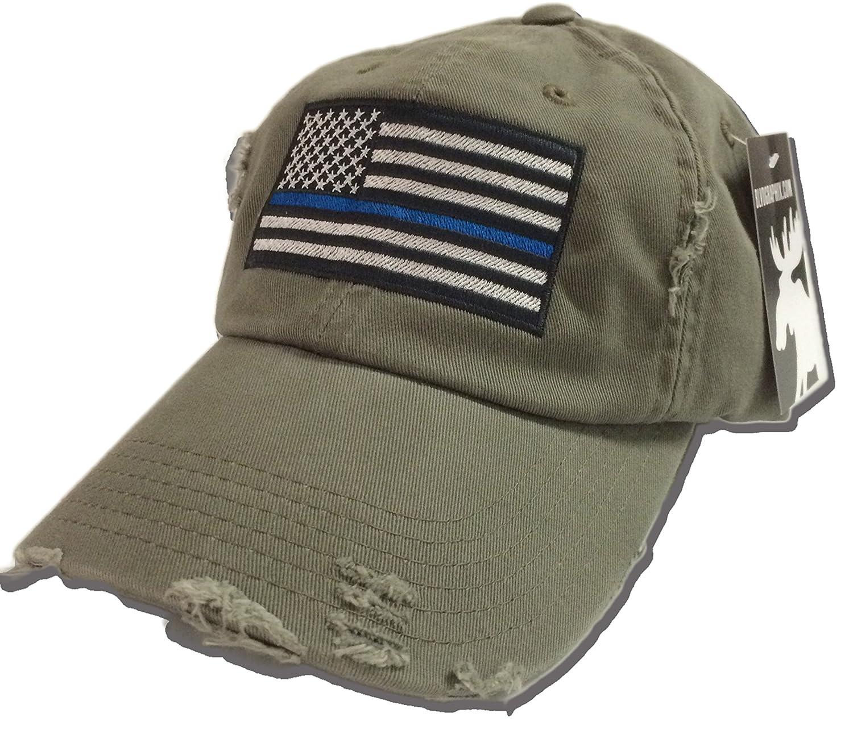 Amazon.com  BlvdNorth Thin Blue Line LEO American Flag Hat   cap Olive Green   Clothing bb049afa132