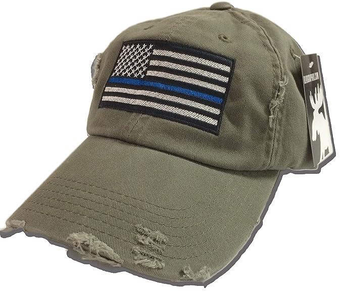 Amazon.com  BlvdNorth Thin Blue Line LEO American Flag Hat   cap Olive  Green  Clothing 65e116313ba