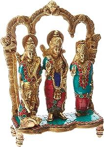 AapnoCraft Brass Ram Darbar Sculpture - Hindu God Rama(Ram) Family Statue Gods Figurine Home/Temple/Shrine Decor