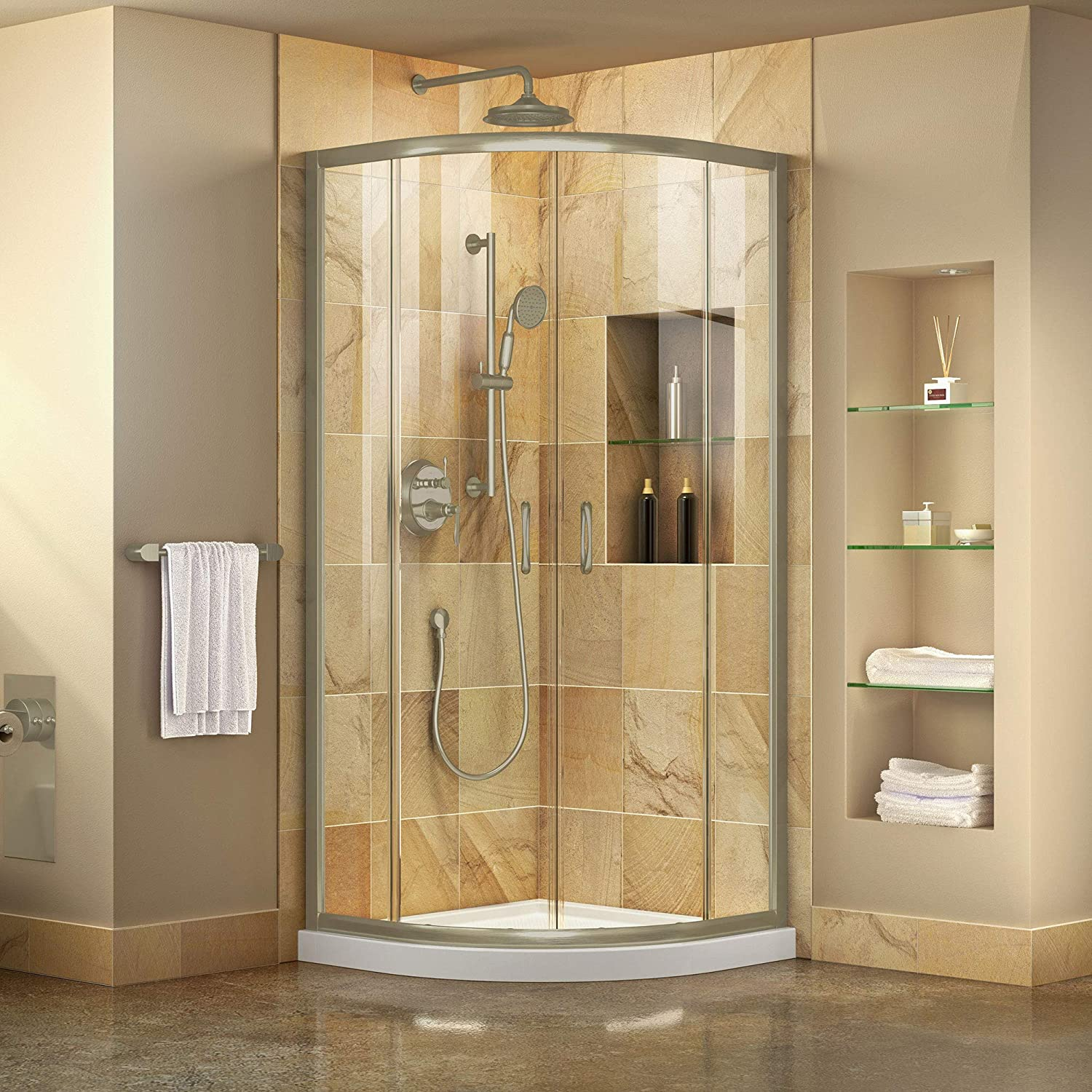 Dreamline DL-6703-04CL Prime Shower Enclosure and Base, 38 W x 38 D, Brushed Nickel