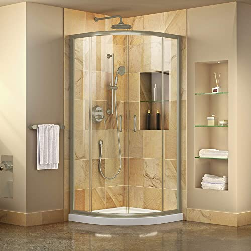 DreamLine Prime 38 in. x 74 3 4 in. Semi-Frameless Clear Glass Sliding Shower Enclosure in Brushed Nickel with White Base Kit, DL-6703-04CL