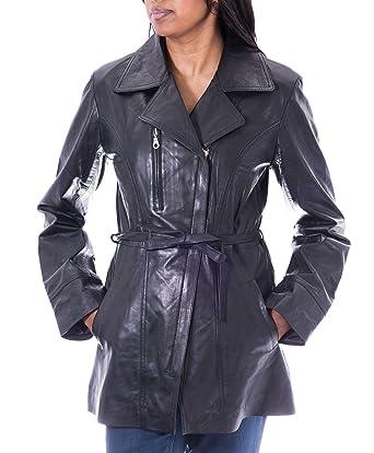 a9525e68e2e9e Veste de vŽlo ˆ main longue en cuir de mouton ŽlŽgante pour femme avec  ceinture
