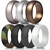ThunderFit Silicone Rings, 7 Pack Wedding Bands for Men - 8.7 mm wide