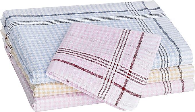 Tobeni 12 Piezas Mujer Pañuelos de Tela 100% Algodón Color Design ...