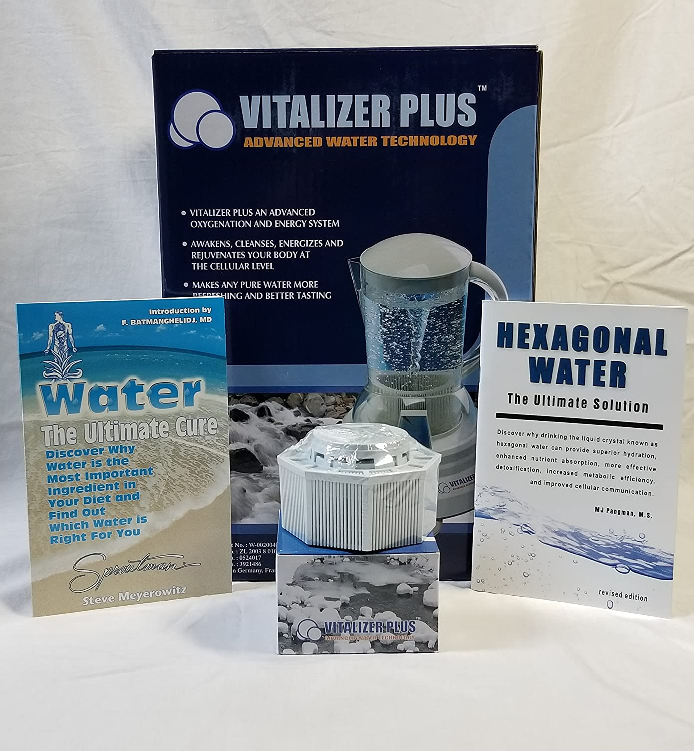 Vitalizer Plus Hexagonal Oxygen Water Maker W/ 2 Mineral Cubes