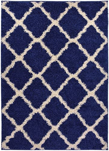 Navy Blue Trellis Shag Area Rug Rugs Shaggy Collection Navy Blue