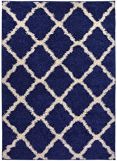 Moroccan Trellis Shag Area Rug Rugs New Shaggy Collection (Navy Blue, ...