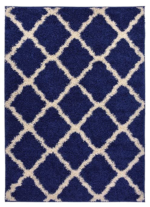 Navy Blue Trellis Shag Area Rug Rugs Shaggy Collection (Navy Blue, 3u00273u0026quot