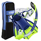 U.S. Divers Anti-Fog Lens & Tempered Glass Silicone Mask Gear Bag Admiral LX Snorkel Set, Blue, Small