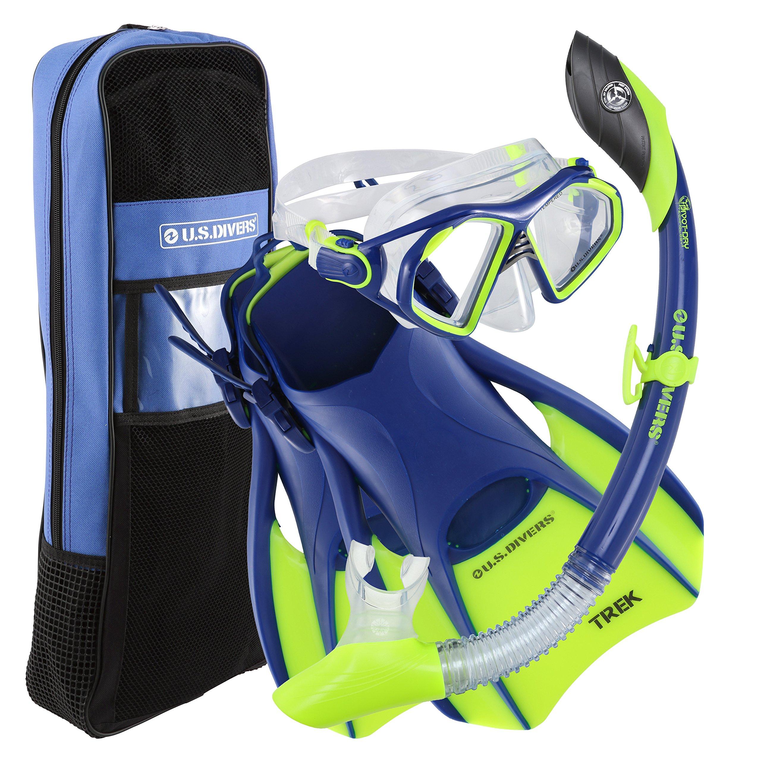 U.S. Divers Admiral Snorkeling Set - Premium Silicone Snorkel Mask, Trek Travel Fins, Dry Top Snorkel + Snorkeling Gear Bag, Neon Blue, Medium by U.S. Divers