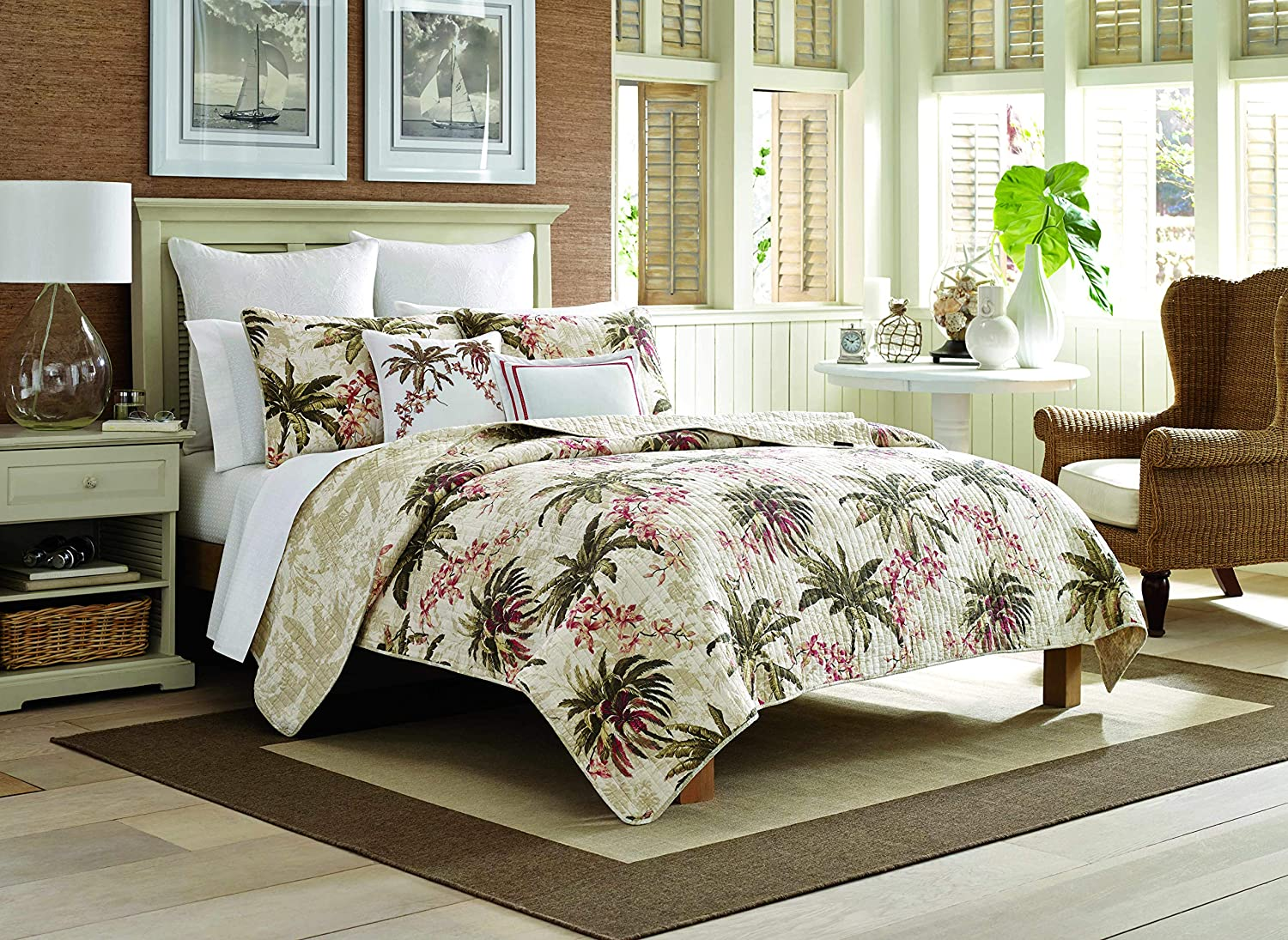 Tommy Bahama Bonny Cove Reversible 100% Cotton-Quilt Set, King, Tropical White