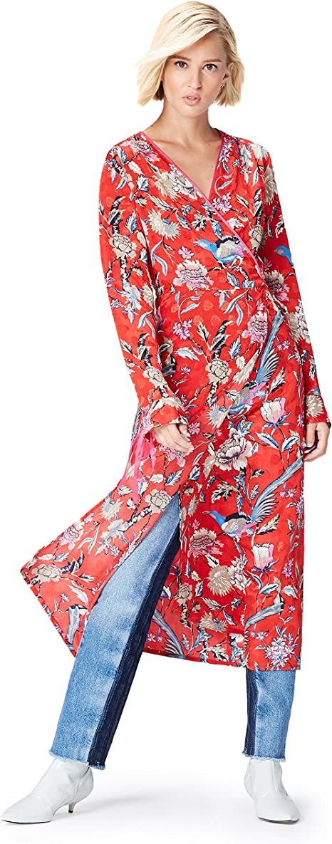 TALLA 40 (Talla del Fabricante: Medium). Marca Amazon - find. Vestido Midi Cruzado Mujer Multicolor (Multicoloured Mpr 301) 40 (Talla del fabricante: Medium)