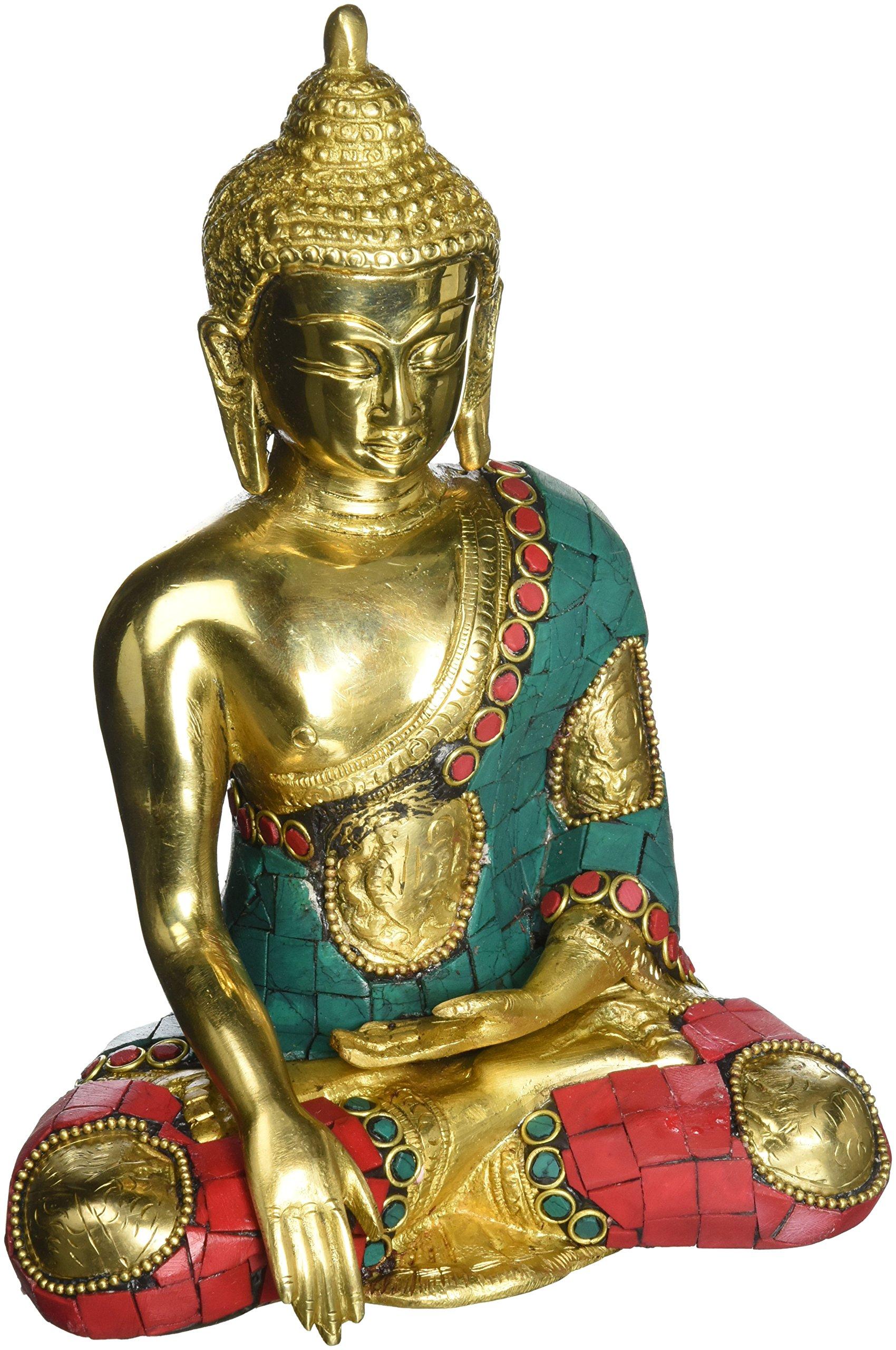 AapnoCraft 8'' Sakyamuni Thai Buddha Statue Large Sitting Buddha Idols Brass Asthmangal Turquoise Figurine Vastu Gifts