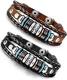Besteel Vintage Genuine Leather Bracelet for Men CZ Brown Adjustable Bangle Braided Bracelet, 7.3-8.5 inches