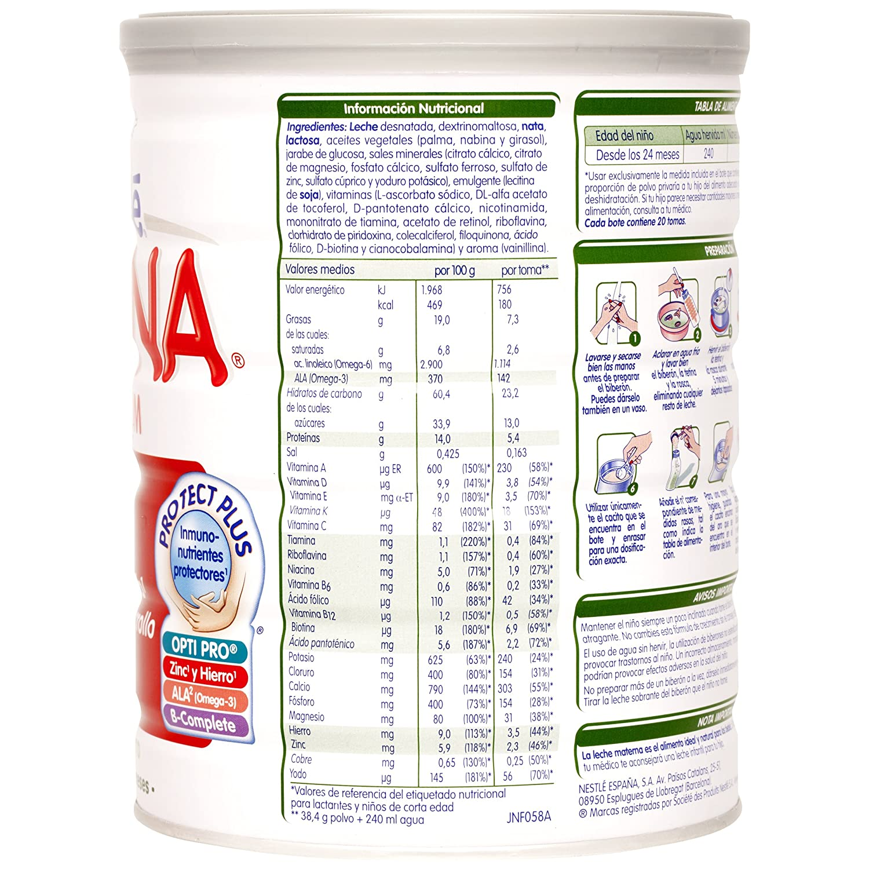 NESTLÉ NIDINA 4 - A partir de los 24 meses - Leche de crecimiento en polvo - Fórmula infantil - 800g: Amazon.es: Amazon Pantry