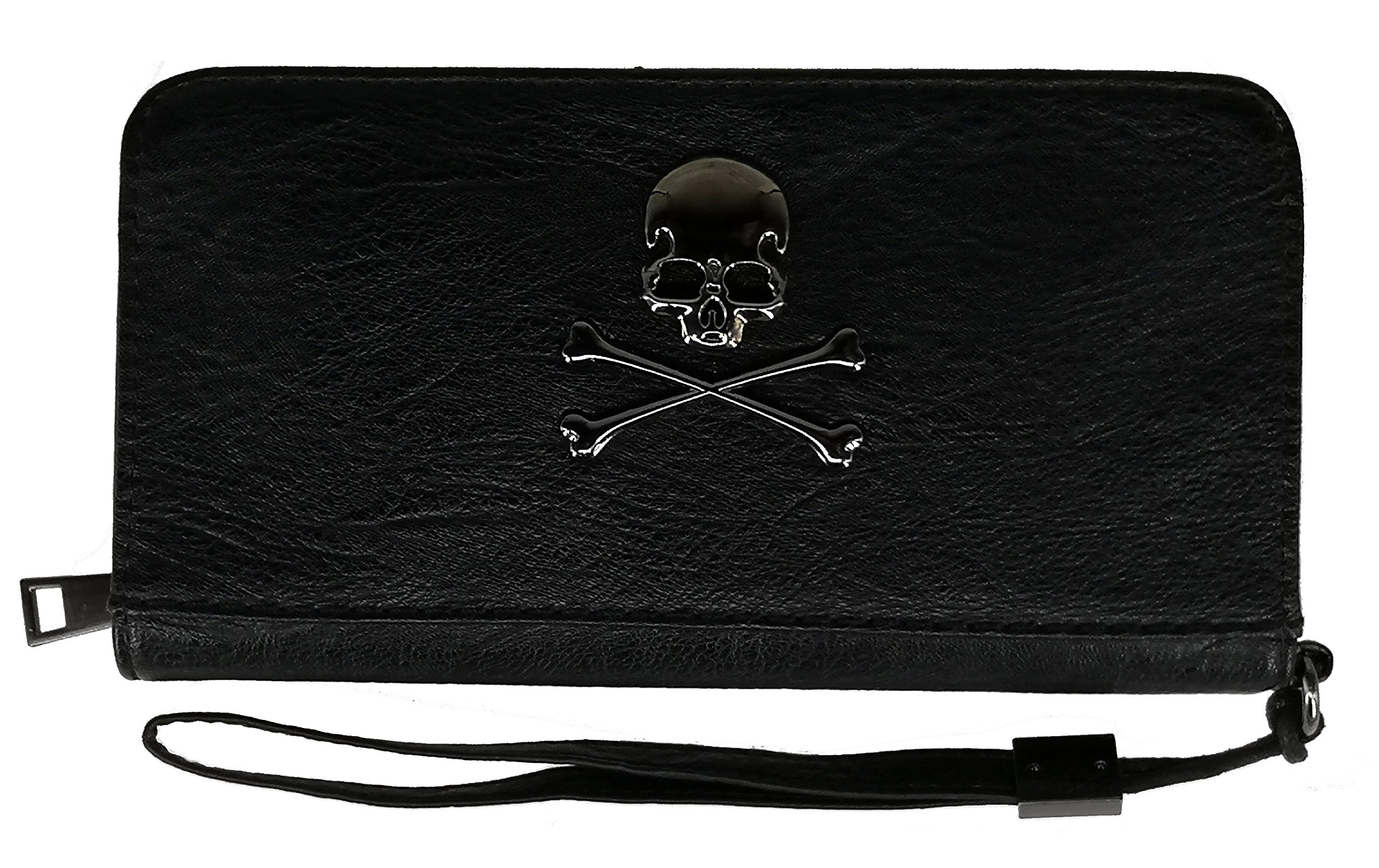 ABC STORY Women Minimalism Leather Skull Zipper Wristlets Wallet Purse Clutch For Men Black