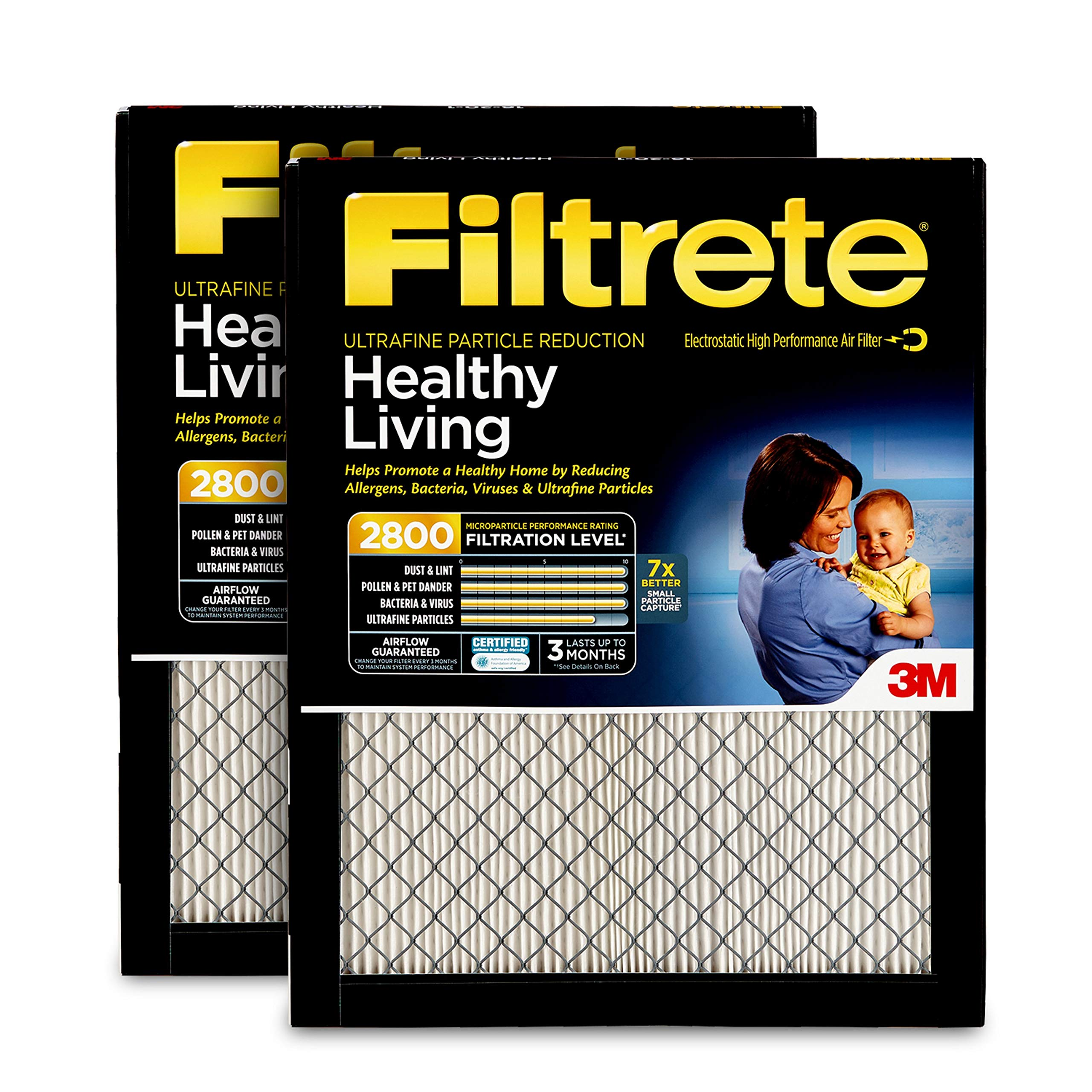 Filtrete 16x25x1, AC Furnace Air Filter, MPR 2800, Healthy Living Ultrafine Particle Reduction, 2-Pack by Filtrete