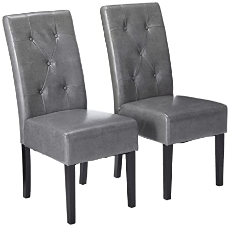 Christopher Knight Home 214519 Alexander Grey Leather Dining Chairs Set of 2 ,