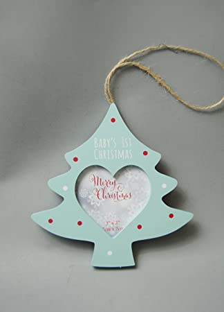 baby babies 1st christmas hanging tree decoration with opening heart photo frame duck egg blue with - Duck Egg Blue Christmas Decorations