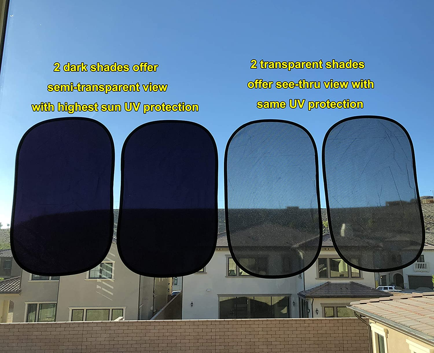 4 Pack -2 Transparent and 2 Semi-Transparent 20x12 Sunshades for UV Rays Protection FIRSFOR Car Sun Shade