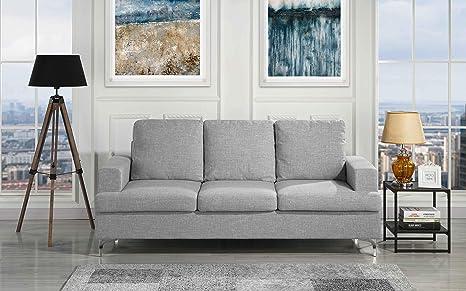 Miraculous Amazon Com Upholstered 77 9 Inch Linen Sofa With Tufted Inzonedesignstudio Interior Chair Design Inzonedesignstudiocom