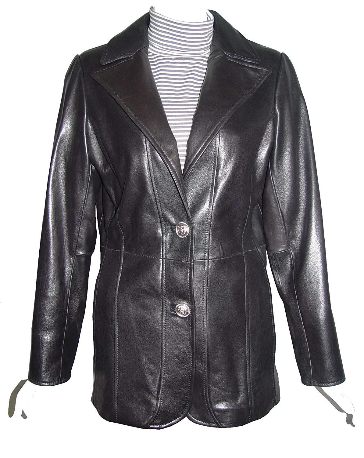 Paccilo Women 4011 Petite Fashion Lambskin Leather Blazer 4011prmphrzblzptt-XS
