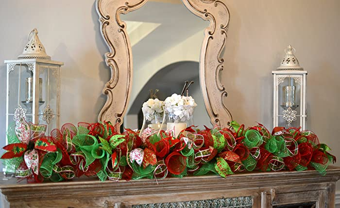 christmas garland staircase garland mesh mantel garland decor red lime green white