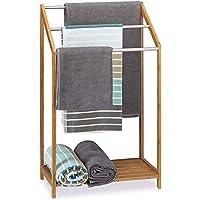 Relaxdays Handtuchhalter Bambus, 3 Handtuchstangen, Freistehend, Ablage, Modern
