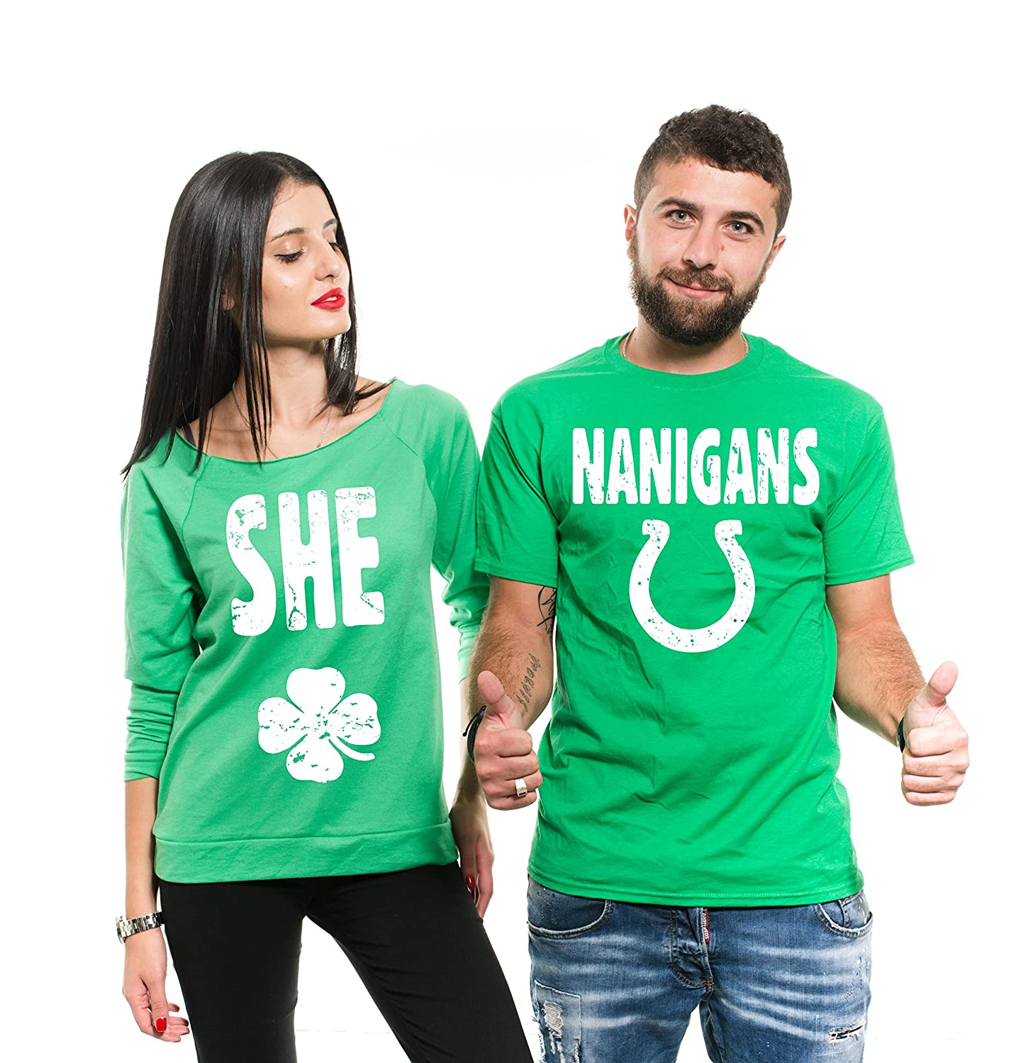 8400569b1 Amazon.com: Silk Road Tees ST Patrick's Day Green Couple Matching Shirts  Womens French Terry Irish Green Couple Shirts Shenanigans Shirts: Clothing