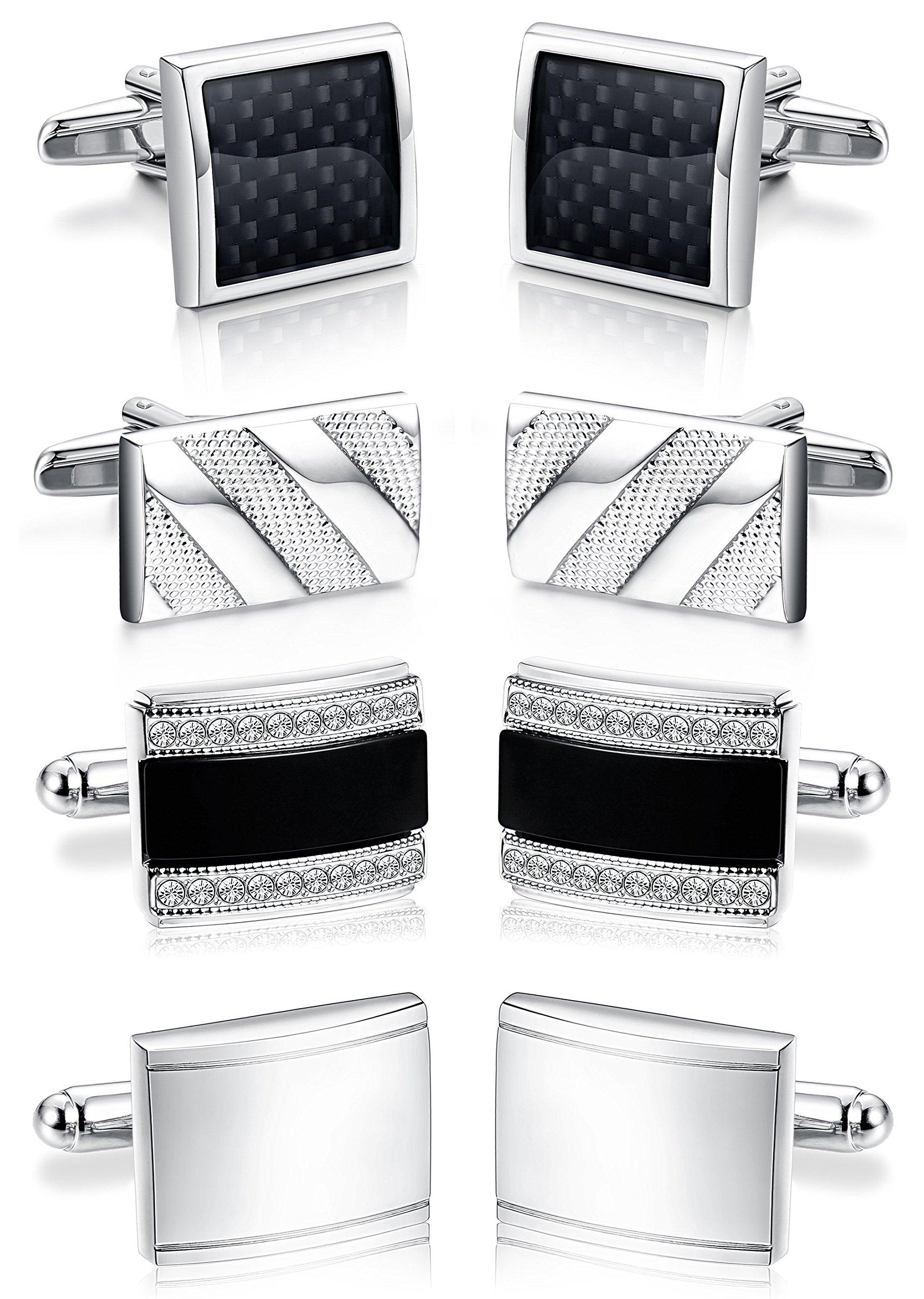 ORAZIO 4 Pairs Cufflinks for Men Cufflinks Set for Groomsman Tuxedo Wedding Silver Tone