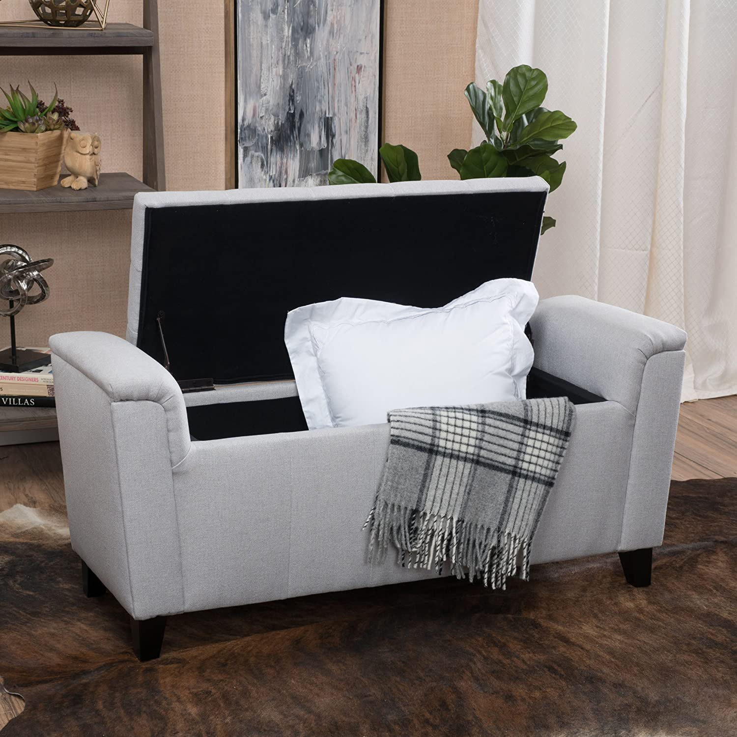 Christopher Knight Home 296766 Living Arthur Light Grey Tufted Fabric Armed Storage Ottoman Bench Great Deal Furniture