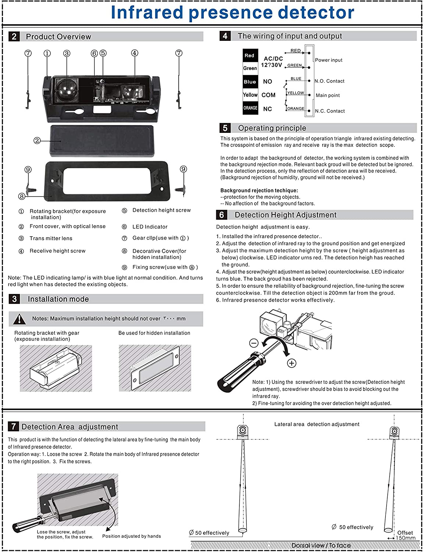 Dc/ac 10-36v Infrared Presence Detector Sensor For Auto-door Control System Home Improvement