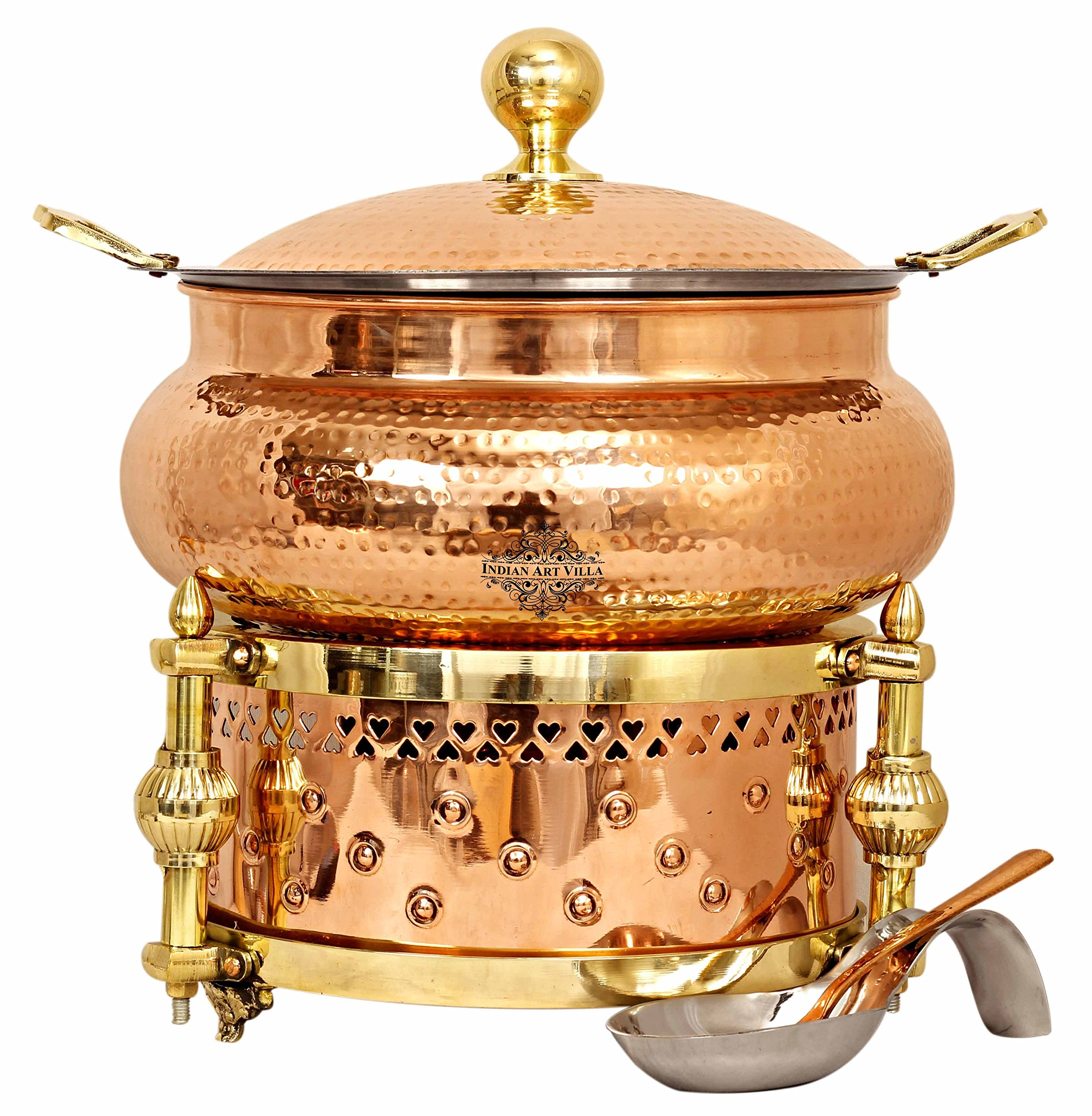 Indian Art Villa Steel Copper Chafing Dish with Sigdi Design Gel Fuel Stand, Buffet Warmer Serveware Party, 202 OZ