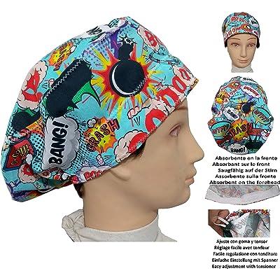 Gorro de quirófano BOOM, para pelo largo, cirugía, dentista, veterinaria, cocina, Toalla en frente, ajustable con tensor