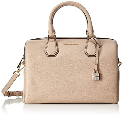 f4690fa3b958 Amazon.com  MICHAEL Michael Kors Womens Mercer Leather Duffle Satchel Handbag  Beige Large  Shoes