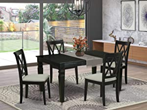 East West Furniture 5Pc Dining Set Includes a Rectangle Dinette Table with Butterfly Leaf and Four Double X Back Microfiber Seat Kitchen Chairs, Black Finish