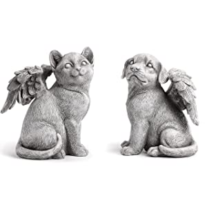 Napco Winged Dog, Cat Angels Concrete Look 6 x 8.25 Resin Garden Figurines, Set of 2