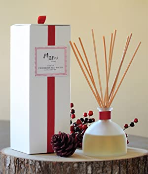 Manu Home Holiday Cranberry & Woods Reed Diffuser Set~ Made with Aromatherapy Oils in a Beautiful Reusable Frosted Bottle~ 6.5 oz! Made in The USA!