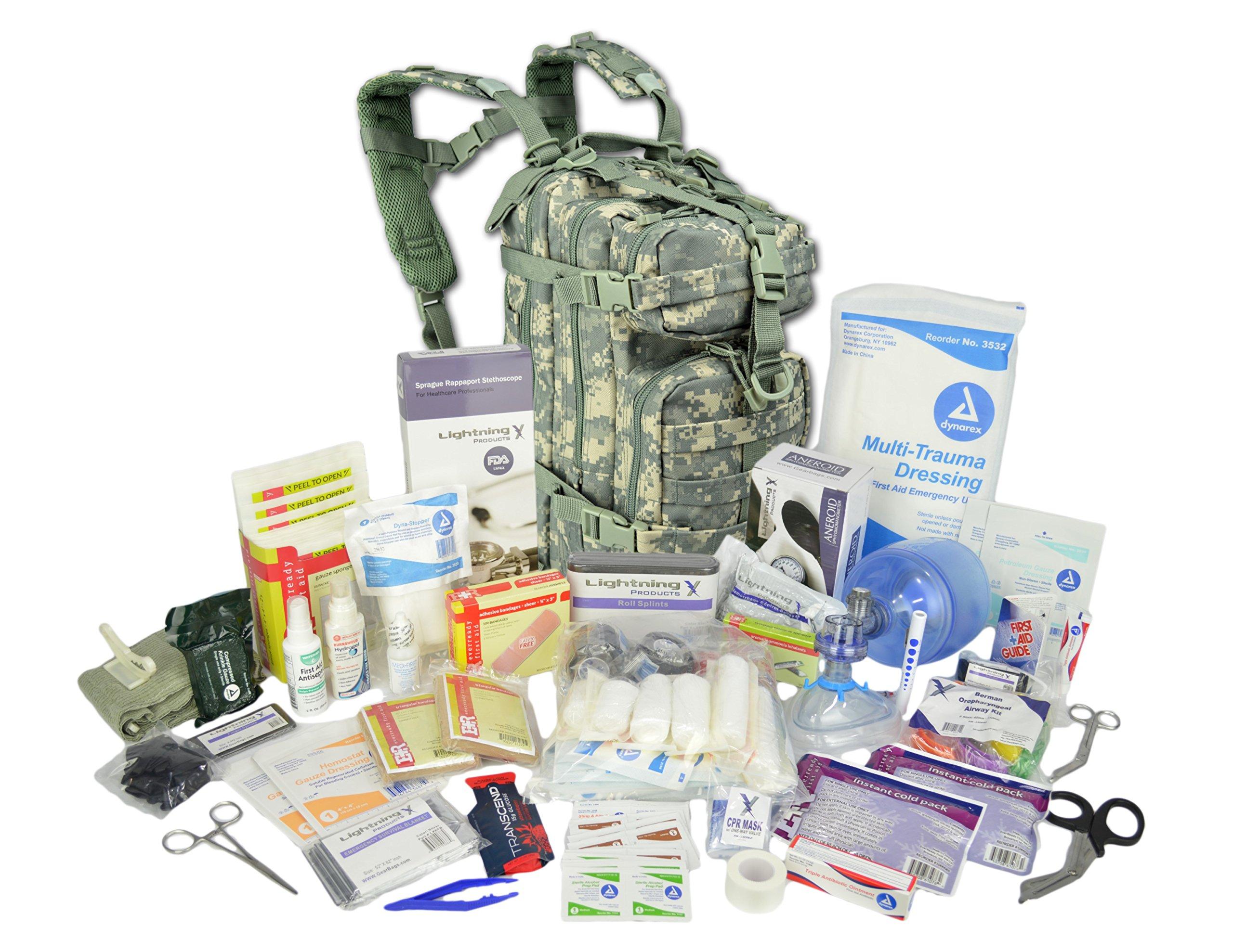 Lightning X Stocked EMS/EMT Trauma & Bleeding First Aid Responder Medical Backpack + Kit - ACU