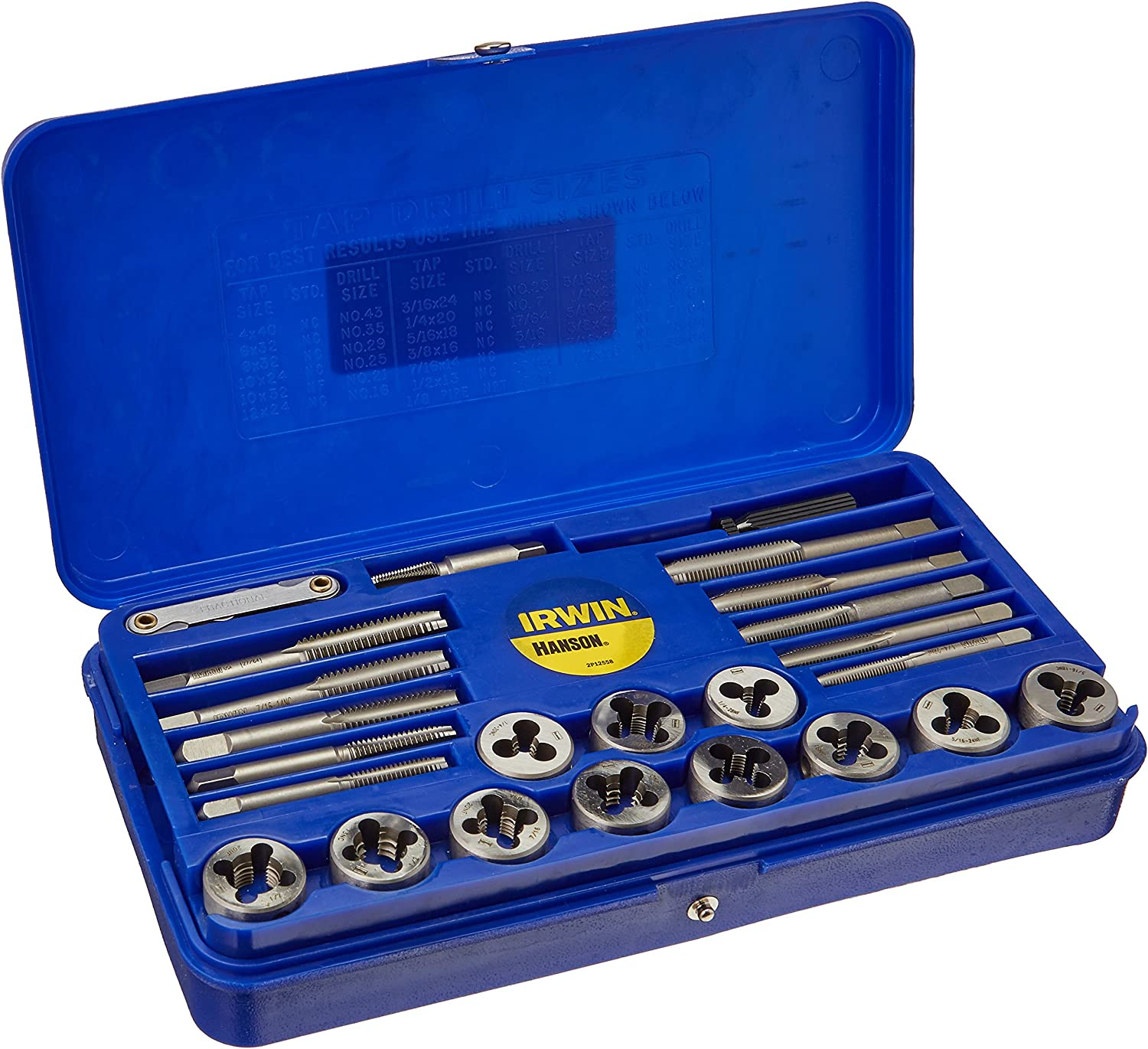 Irwin Industrial Tools 23614 Machine Screw with Fractional Tap and Solid Round Die Set, 39-Piece