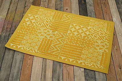 Vliving tappeto di cotone colore senape stampa geometrica