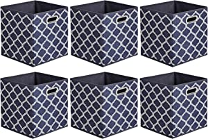 AmazonBasics Collapsible Fabric Storage Cubes with Oval Grommets - 6-Pack, Trellis