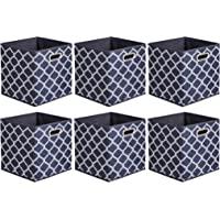 AmazonBasics Składane kostki do przechowywania z tkaniny z owalnymi pierścieniami - opakowanie 6 sztuk, kratka