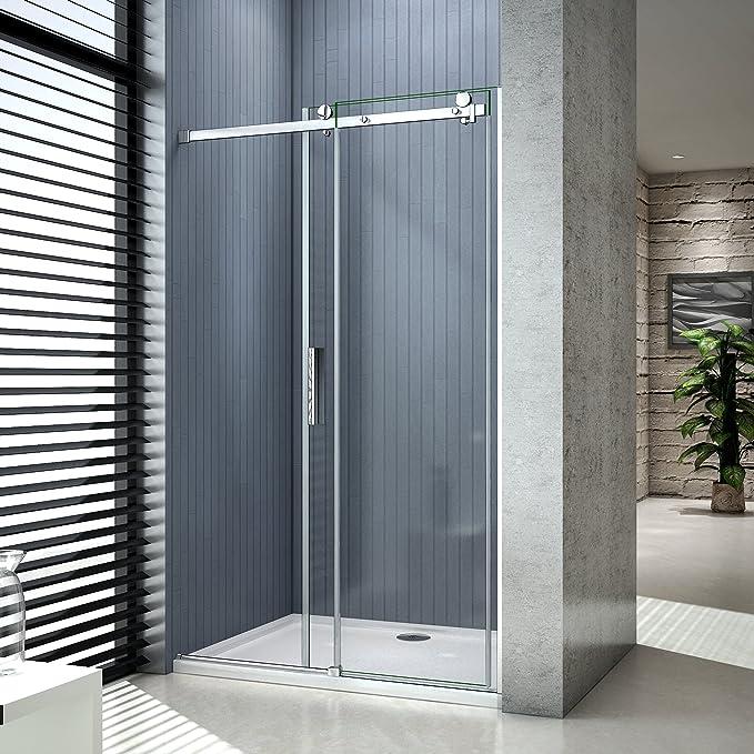 Puerta corredera, mampara de ducha corredera, 8 mm vidrio templado, vitrificación Nano, antical, instalación en nicho: Amazon.es: Bricolaje y herramientas