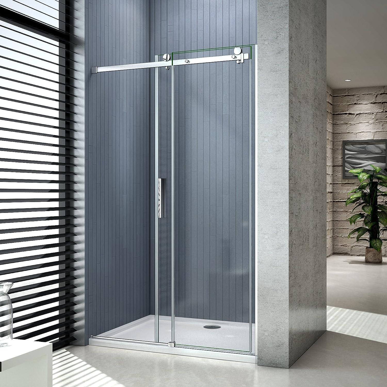 vitrification NANO Porte de douche coulissante 130x195cm,installation en niche 8mm verre tremp/é anticalcaire,