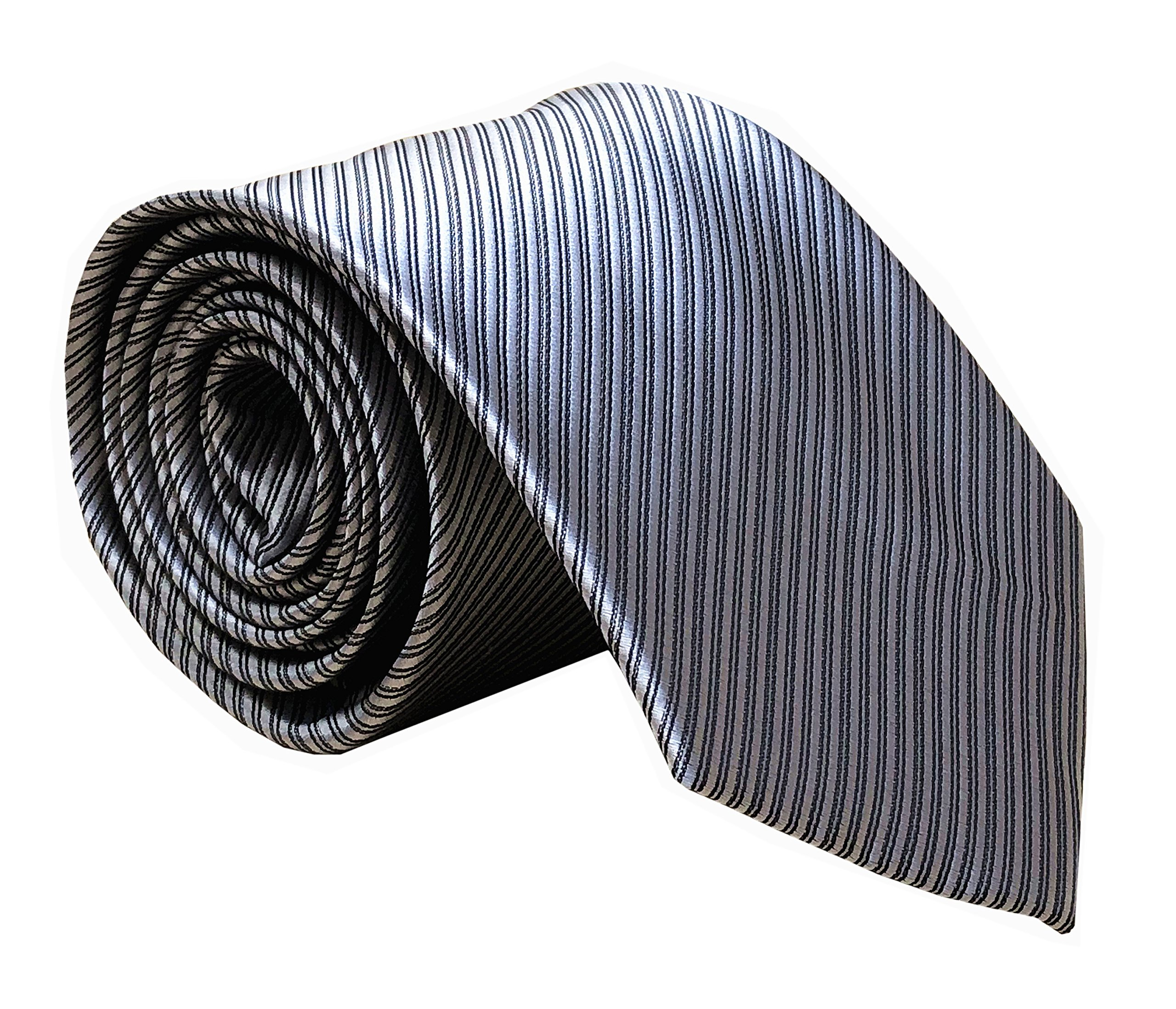 Secdtie Men's Repp Silver Grey Silk Ties Fine Striped Jacquard Working Neckties