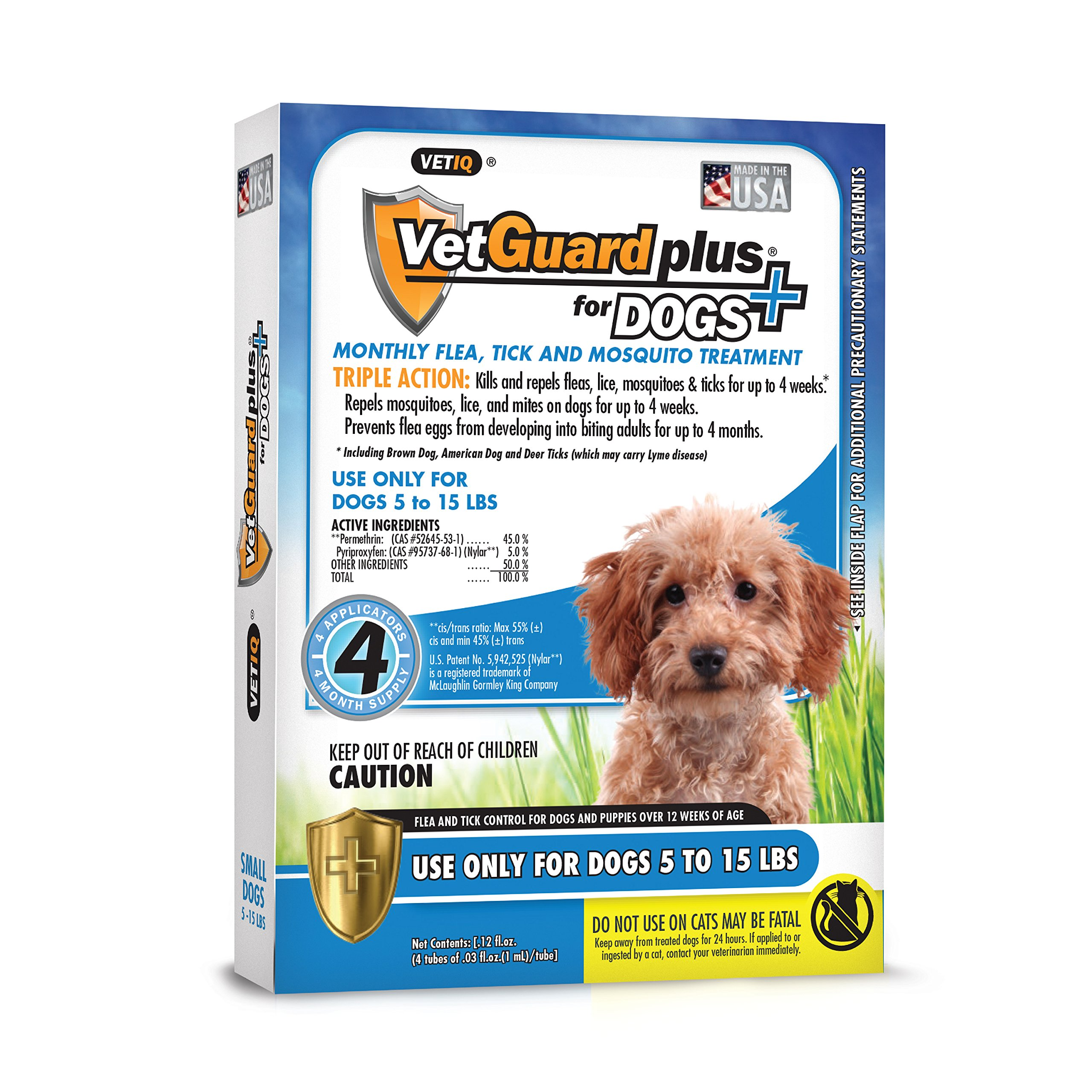 VetGuard Plus Flea & Tick Treatment Small Dogs, 5-15 lbs, 4 Month Supply