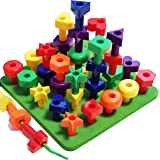 Lacing Peg Board Building Toddler Toys | 36 pc Montessori Shapes Puzzle for 2, 3, 4, 5 Year Old Boy and Girl | Fine Motor Skills Stacking Matching Kids Toy | 36 pg Activity eBook and Travel Backpack